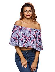 Women's Fanshaped Floral Print Off Shoulder Top