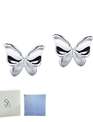 SILVERAGE 925 Sterling Silver Fine Jewelry For Women Vivid Butterfly Stud Earrings
