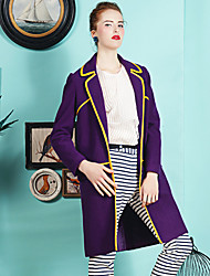 Damen Gestreift Einfach Lässig/Alltäglich Mantel,Winter V-Ausschnitt Langarm Lila Wolle Polyester