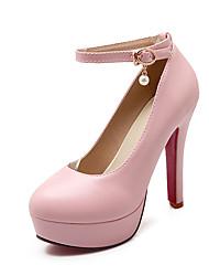 Women's Heels Spring Summer Fall Platform Comfort Ankle Strap PU Wedding Casual Party & Evening Stiletto Heel BuckleBlack Beige Blushing