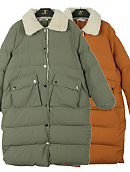 Sign the price of not less than 155 lambs wool thickened sweet Slim long padded coat
