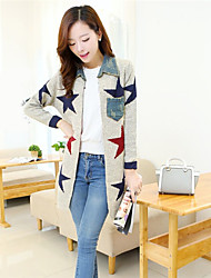 Women's Casual/Daily Simple / Cute Long CardiganPatchwork Shirt Collar Long Sleeve Polyester Fall / Winter Medium