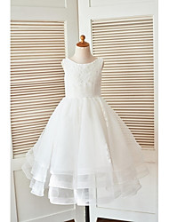 A-line Floor-length Flower Girl Dress - Lace / Tulle Sleeveless Scoop with Appliques / Sash / Ribbon