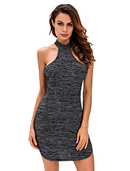 Women's Choker|Backless Black Heathered Racerback Mini Dress