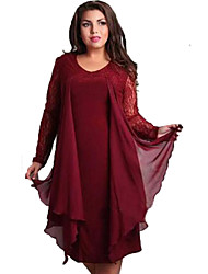 Women's Lace Simple Solid Plus Size/Loose Dress,Round Neck Knee-length