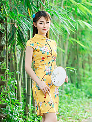 Sign 2016 summer new play retro butterfly floral silk dress Chinese improved cheongsam
