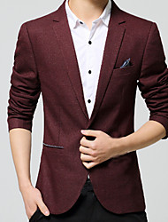 Men's Going out / Casual/Daily / Party/Cocktail Sexy / Cute / Chinoiserie Fall / Winter Blazer,Solid Shirt Collar Long SleeveBlue / Red /