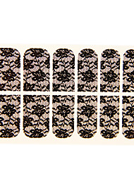 12PCS Water Lily Shape Black Lace Nail Art Stickers NO.16