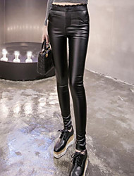 Sign # 3724 2016 autumn and winter coat imitation PU leather Slim was thin stretch pants feet plus velvet leggings woman
