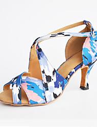 Customizable Women's suede sole Satin Dance Shoes Modern / Salsa / Latin /Swing Shoes  Heel Black Latin / Dance Sneakers / Tap