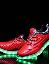 Garçon-Décontracté-Noir Rouge-Talon Plat-Confort Light Up Chaussures-Chaussures d'Athlétisme-Cuir
