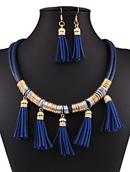 Fashion all-match multi-layer leather fringed jewelry set 0248#