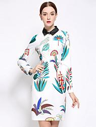 Feminino Bainha Vestido, Casual / Tamanhos Grandes Simples Floral Colarinho de Camisa Acima do Joelho Manga Longa Branco AlgodãoOutono /