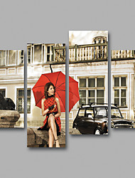Canvas Set / Unframed Canvas Print People Traditional,Four Panels Canvas Horizontal Print Wall Decor For Home Decoration
