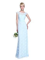 2017 Lanting Bride® Floor-length Lace Beautiful Back Bridesmaid Dress - Sheath / Column Jewel with Sash / Ribbon