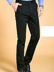 Masculino Tamanhos Grandes Reto Negócio Calças-Cor Única Casual / Trabalho Simples Cintura Média Zíper / Botão Algodão Micro-Elástico