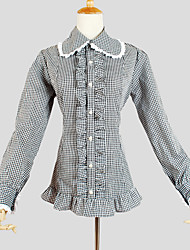 Blouse/Shirt Classic/Traditional Lolita Vintage Inspired Cosplay Lolita Dress Plaid Long Sleeve Lolita Blouse For Cotton