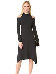 Fall 2016 bottom of Europe and the United States long sleeve off-the-shoulder accept waist A word set knitted dress