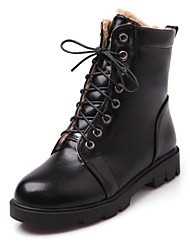 Women's Lace-up Low-Heels PU Solid Low-top Boots