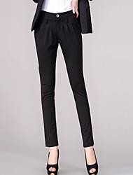 Feminino Simples Cintura Alta Elástico Chinos Calças,Skinny Sólido