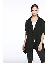 Trench Femme,Couleur Pleine Décontracté / Quotidien Grandes Tailles Chic de Rue Manches Longues Col de Chemise Noir Vert Rayonne Polyester