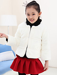 Girl's Fashion Solid Color Imitation Fur Spring/Fall/Winter Going out/Daily Long Sleeve Down & Cotton Padded Warm Children Coat