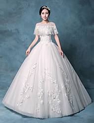 Princess Wedding Dress Floor-length Jewel Lace / Organza / Tulle / Sequined with Appliques / Crystal / Lace / Sequin