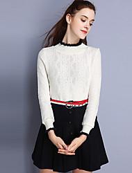 Damen Röcke,A-Linie einfarbigLässig/Alltäglich Einfach Mittlere Hüfthöhe Über dem Knie Elastizität Polyester Wolle Unelastisch Herbst
