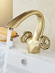 Traditional Centerset Widespread with  Ceramic Valve Two Handles One Hole for  Antique Brass  Bathroom Sink Faucet
