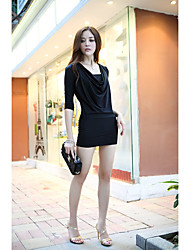 Women's Club Sexy Bodycon / Sheath Dress,Solid Boat Neck Mini Long Sleeve Pink / Black Modal Fall Low Rise Micro-elastic Medium