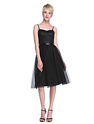 Lanting Bride® Mi-long Tulle Petite Robe Noire Robe de Demoiselle d'Honneur  - Trapèze Bretelles Fines avec Ceinture / Ruban