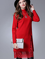 Women's Casual/Daily Simple Street chic Tunic Dress,Solid Crew Neck Above Knee Long Sleeve Red Brown Gray Acrylic Fall Mid Rise
