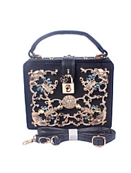 Women Velvet / Metal Formal / Event/Party / Wedding Evening Bag/Hard Metal Lock of Flower Box of Handbags Gem Bag