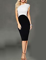 Feminino Tubinho / Bainha Vestido, Casual Sofisticado Retalhos Decote Redondo Altura dos Joelhos Sem Manga Branco PoliésterPrimavera /