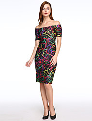 Women's Colorful Circles Print Black Midi Dress
