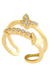 Ring Rhinestone Alloy Rhinestone Simulated Diamond Silver Golden Jewelry Wedding Party 1pc