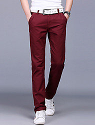 Men's Straight Chinos PantsCasual/Daily Simple Solid Mid Rise Button Cotton Inelastic All Seasons MP-811