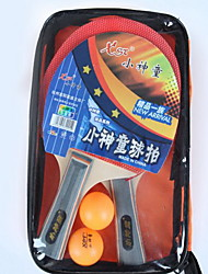 Table Tennis Rackets Ping Pang Wood Long Handle Inverted Pimples 2 Rackets 2 Table Tennis Balls Indoor-#
