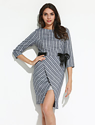 Women's Casual/Daily Simple Sheath Dress,Striped Round Neck Knee-length ¾ Sleeve White / Black Rayon / Polyester Fall