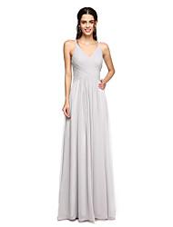 2017 lanting parole longueur chiffon bride® dos ouvert robe de demoiselle d'honneur - bretelles spaghetti avec drapé latéral
