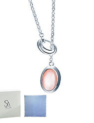 SILVERAGE Sterling Silver Pink Shell and Red Crystal Double Sided Y Necklace