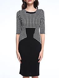 Women's Vintage/Sexy/Bodycon/Party/Work Micro-elastic Dress (Cotton Blends)