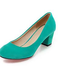 Feminino-Saltos-Sapatos com Bolsa Combinando-Salto Grosso-Preto / Azul / Verde / Bege-Courino-Escritório & Trabalho / Social / Casual