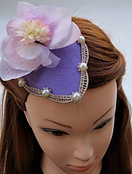 Women's Pearl Chiffon Fabric Headpiece-Wedding Special Occasion Fascinators Hats Hair Clip 1 Piece