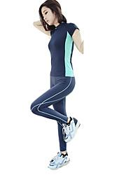 Laufen T-shirt Damen Kurze Ärmel Atmungsaktiv / Rasche Trocknung / Schweißableitend / Komfortabel Elastan / PolypropylenYoga / Übung &