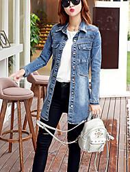 Vestes en Jean Femme,Couleur Pleine Décontracté / Quotidien simple Hiver Manches Longues Col de Chemise Bleu Coton Moyen