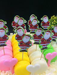 24pcs / Père Noël mis gâteau d'anniversaire créatif petit drapeau de la marque de bande dessinée