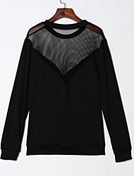 Women's Casual/Daily / Club Sexy / Simple Hin Thin See-through Blouses T-shirtSolid Round Neck Long Sleeve Black