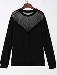 Damen Solide Sexy / Einfach Lässig/Alltäglich / Klub T-shirt,Rundhalsausschnitt Frühling / Herbst Langarm Schwarz Polyester Dünn