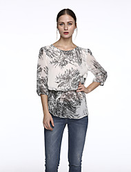 Women's Print White Blouse,Round Neck Short Sleeve